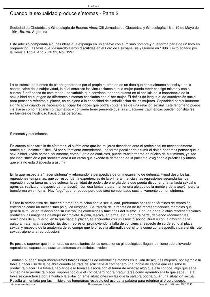 Eva Giberti   Cuando la sexualidad produce síntomas - Parte 2  Sociedad de Obstetricia y Ginecología de Buenos Aires; XIII...
