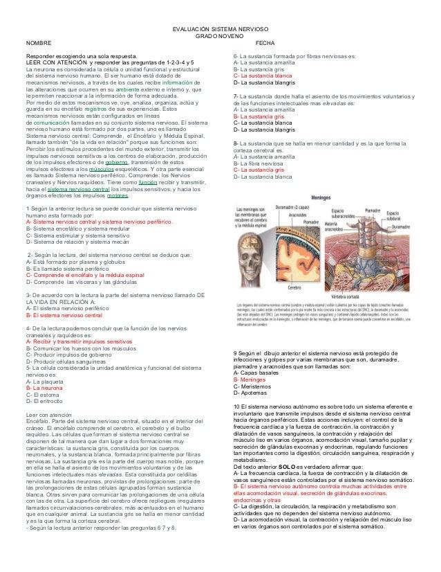 Evaluacion sistema nervioso con respuests