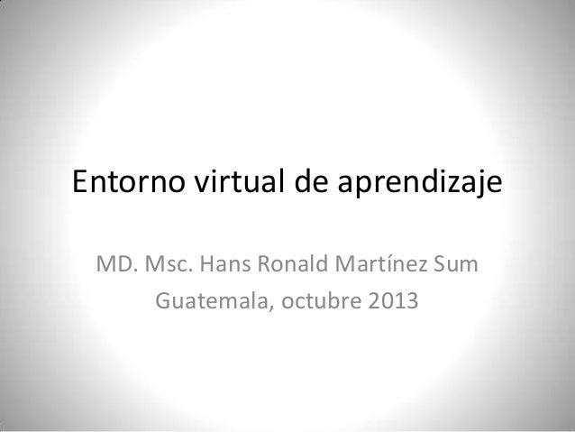 Entorno virtual de aprendizaje MD. Msc. Hans Ronald Martínez Sum Guatemala, octubre 2013