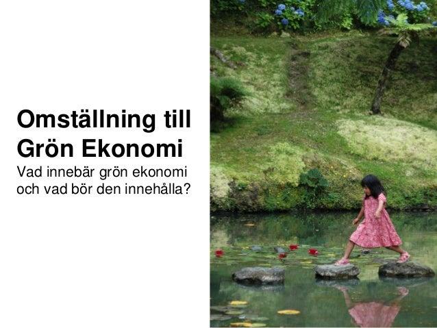 Omställning till Grön Ekonomi Vad innebär grön ekonomi och vad bör den innehålla?