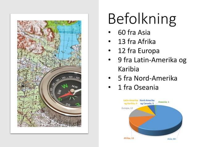 Befolkning • 60 fra Asia • 13 fra Afrika • 12 fra Europa • 9 fra Latin-Amerika og Karibia • 5 fra Nord-Amerika • 1 fra Ose...