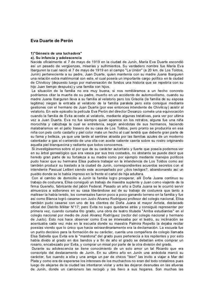 """Eva Duarte de Perón1)""""Génesis de una luchadora""""a). Su infancia y adolescenciaNacida oficialmente el 7 de mayo de 1919 en l..."""