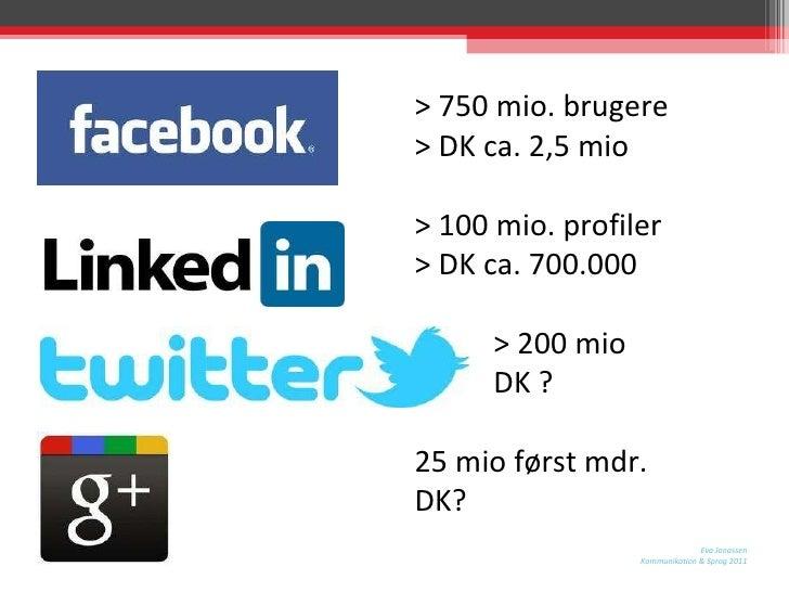 > 750 mio. brugere > DK ca. 2,5 mio > 100 mio. profiler > DK ca. 700.000 > 200 mio DK ?  25 mio først mdr. DK?