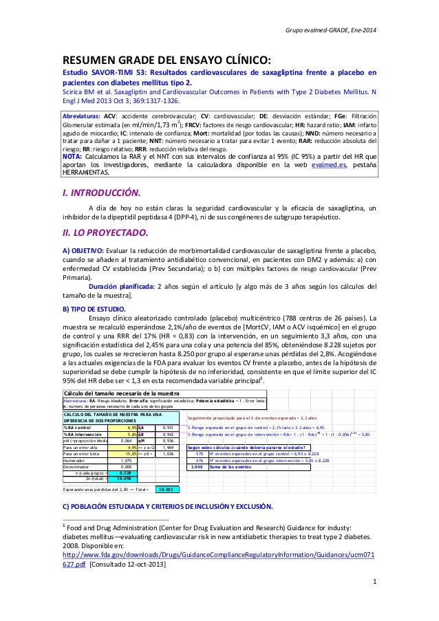 Grupoevalmed‐GRADE,Ene‐2014  RESUMENGRADEDELENSAYOCLÍNICO: Estudio SAVOR‐TIMI 53: Resultados cardiovasculares...