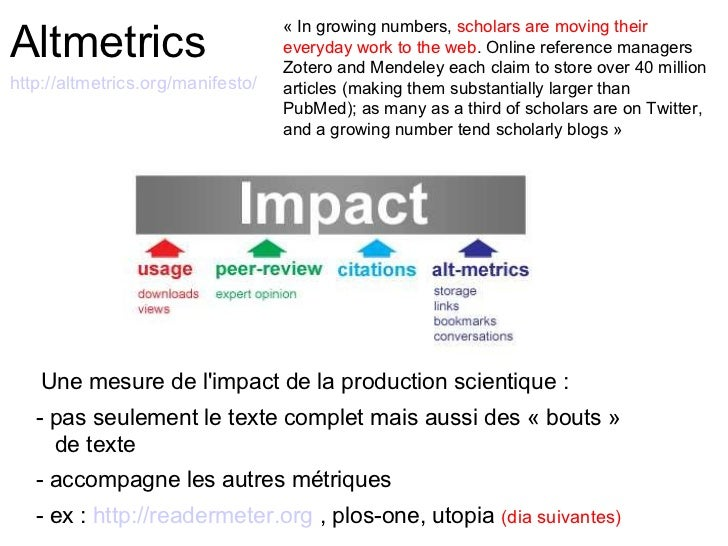 Altmetrics                                   « In growing numbers, scholars are moving their                              ...