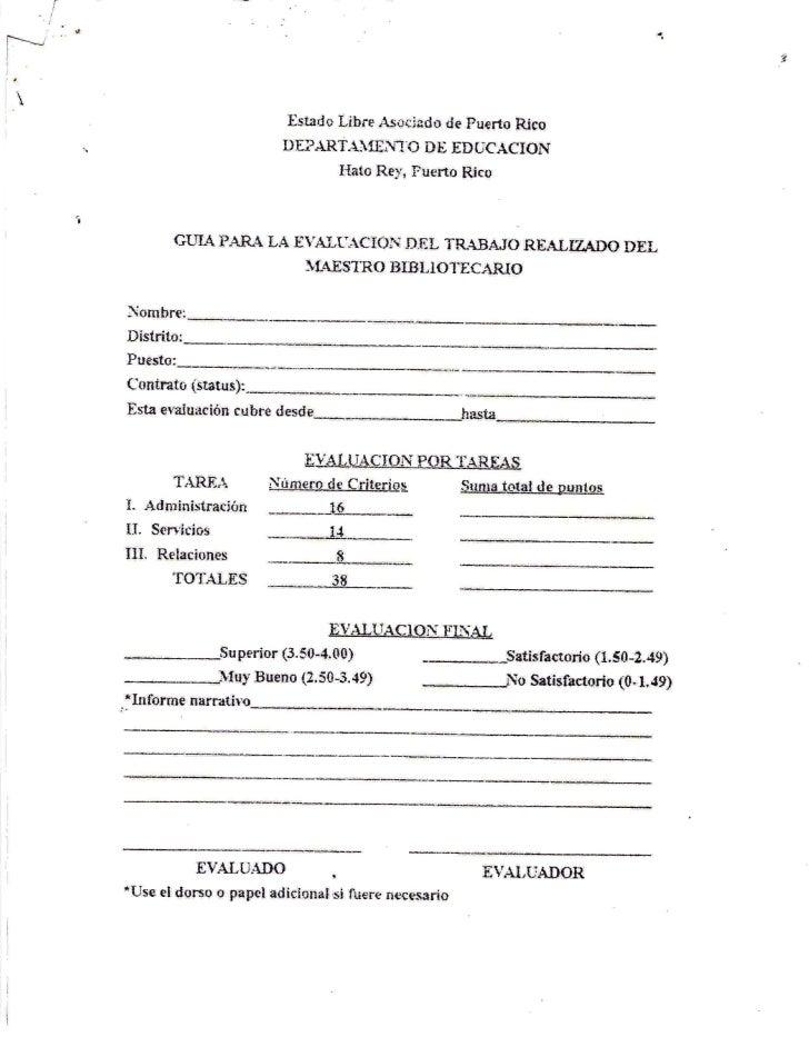 Guía para la Evaluación de la Labor Realizada por el Maestro Bibliotecario