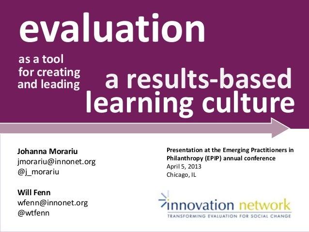 evaluationas a toolfor creatingand leading a results-basedlearning cultureJohanna Morariujmorariu@innonet.org@j_morariuWil...