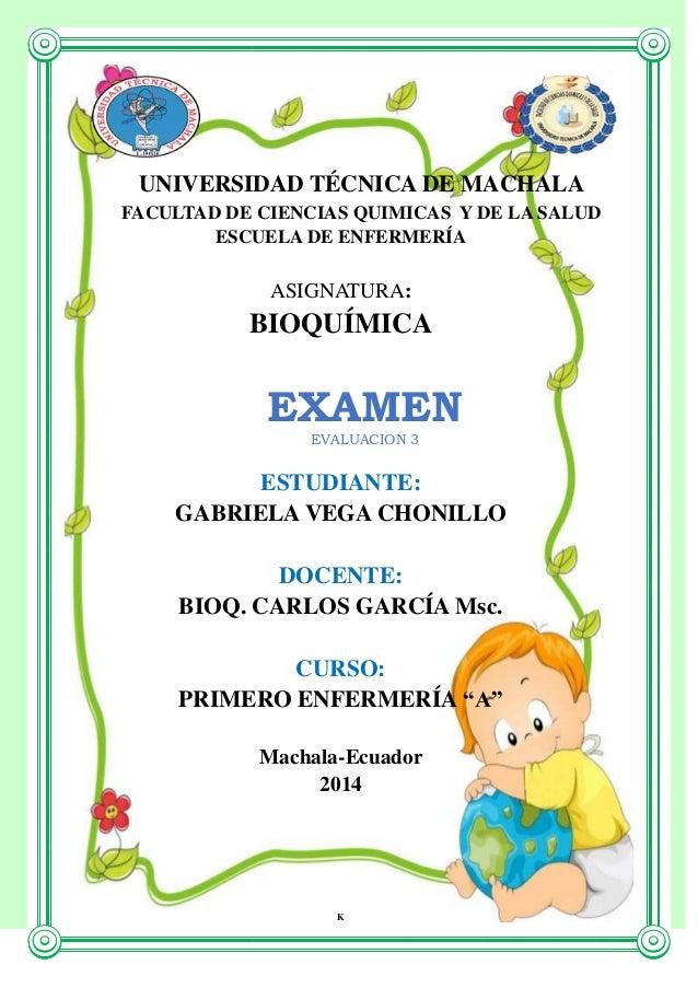UNIVERSIDAD TÉCNICA DE MACHALA FACULTAD DE CIENCIAS QUIMICAS Y DE LA SALUD ESCUELA DE ENFERMERÍA  ASIGNATURA:  BIOQUÍMICA ...