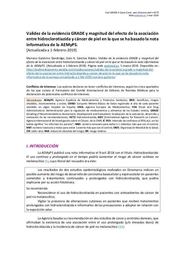 Eval GRADE 4 Casos Contr, asoc Cánceres piel e HCTZ Web evalmed.es, 1-mar-2019 Validez de la evidencia GRADE y magnitud de...