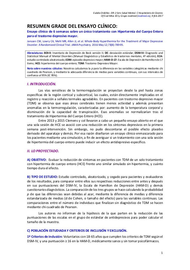 Eulalia Ordóñez. EIR-2 Serv Salud Mental. C Hospitalario de Cáceres Of Eval Mtos SES y Grupo evalmed (evalmed.es), 9-feb-2...