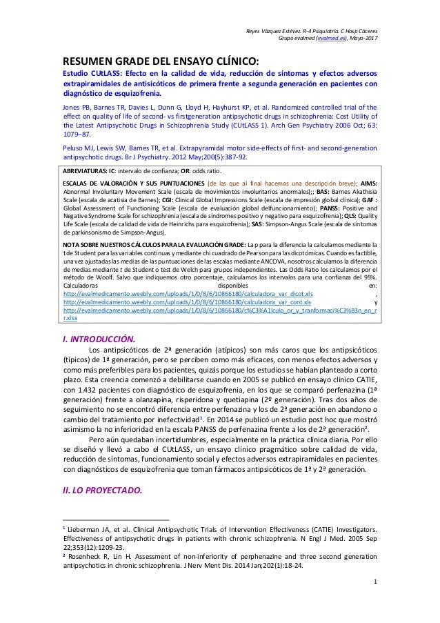 Reyes Vázquez Estévez. R-4 Psiquiatría. C Hosp Cáceres Grupo evalmed (evalmed.es), Mayo-2017 1 RESUMEN GRADE DEL ENSAYO CL...