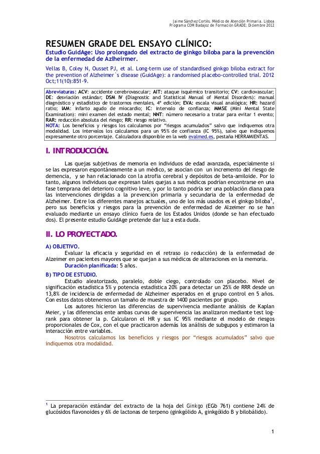 Jaime Sánchez Cortés. Médico de Atención Primaria. Lisboa Programa COM Badajoz de Formación GRADE; Diciembre 2012 1 RESUME...