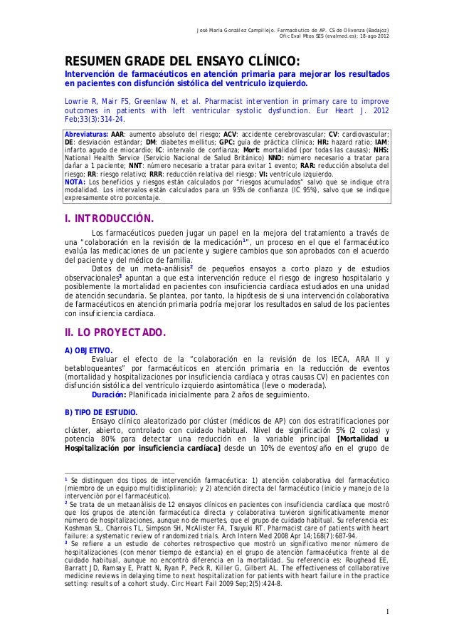 José María González Campillejo. Farmacéutico de AP. CS de Olivenza (Badajoz) Ofic Eval Mtos SES (evalmed.es); 18-ago-2012 ...