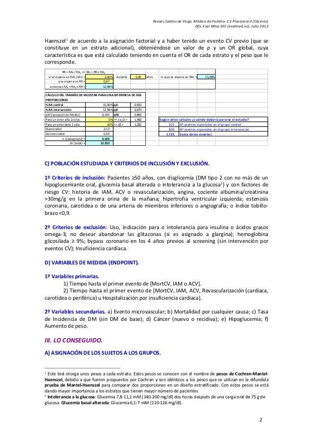 Nieves Santos de Vega. Médico de Familia. C S Plasencia II (Cáceres) Ofic Eval Mtos SES (evalmed.es); Julio 2012 2 Haensze...