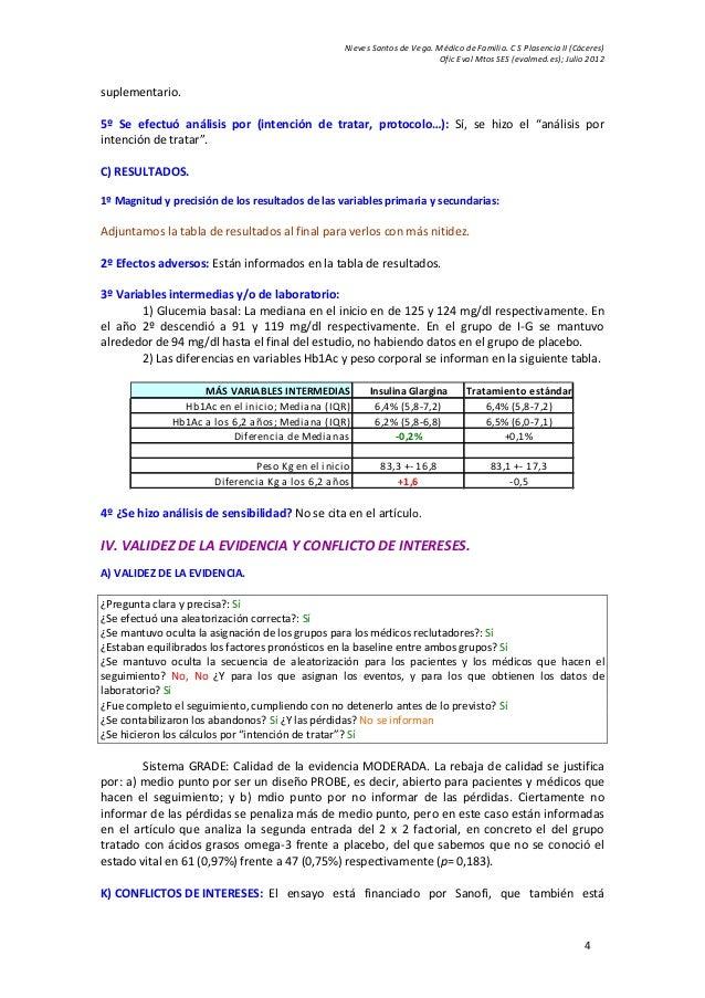 Nieves Santos de Vega. Médico de Familia. C S Plasencia II (Cáceres) Ofic Eval Mtos SES (evalmed.es); Julio 2012 4 supleme...
