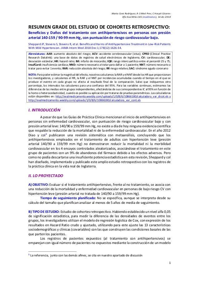 Marta Cara Rodríguez, R-3 Med Prev, C Hospit Cáceres Ofic Eval Mtos SES (evalmed.es), 14-dic-2018 1 RESUMEN GRADE DEL ESTU...