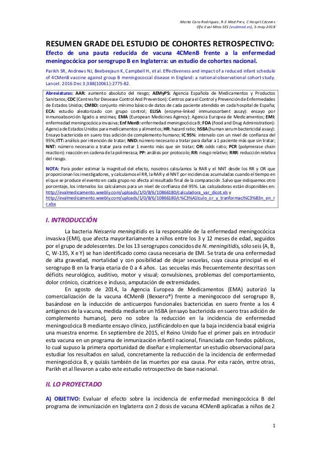 Marta Cara Rodríguez, R-3 Med Prev, C Hospit Cáceres Ofic Eval Mtos SES (evalmed.es), 5-may-2018 1 RESUMEN GRADE DEL ESTUD...