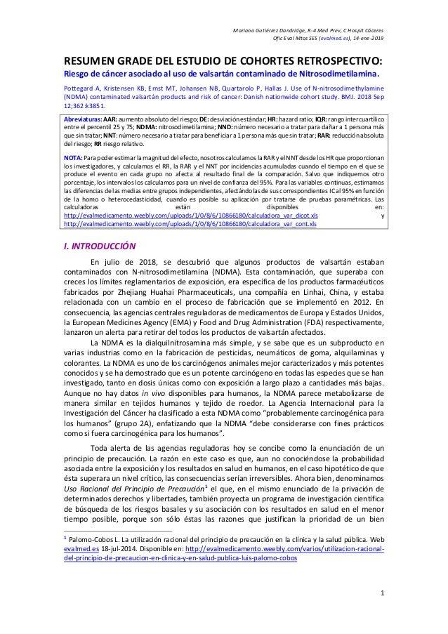 Mariano Gutiérrez Dandridge, R-4 Med Prev, C Hospit Cáceres Ofic Eval Mtos SES (evalmed.es), 14-ene-2019 1 RESUMEN GRADE D...
