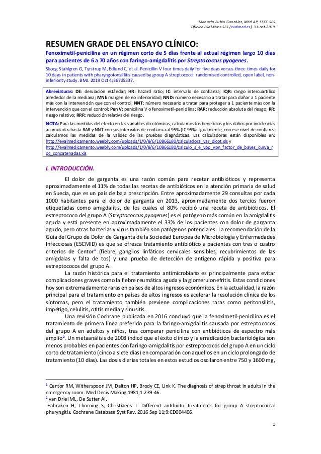 Manuela Rubio González, Méd AP, SSCC SES Oficina Eval Mtos SES (evalmed.es), 31-oct-2019 1 RESUMEN GRADE DEL ENSAYO CLÍNIC...