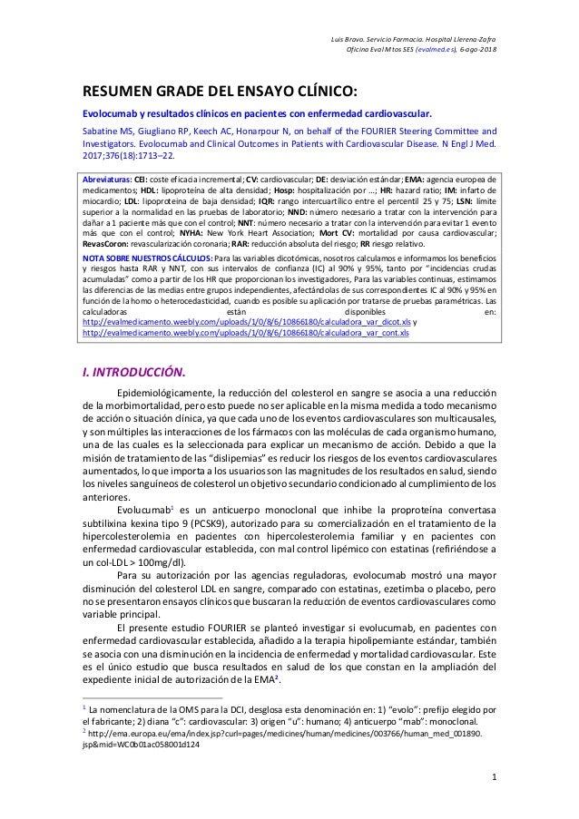 Luis Bravo. Servicio Farmacia. Hospital Llerena-Zafra Oficina Eval Mtos SES (evalmed.es), 6-ago-2018 1 RESUMEN GRADE DEL E...