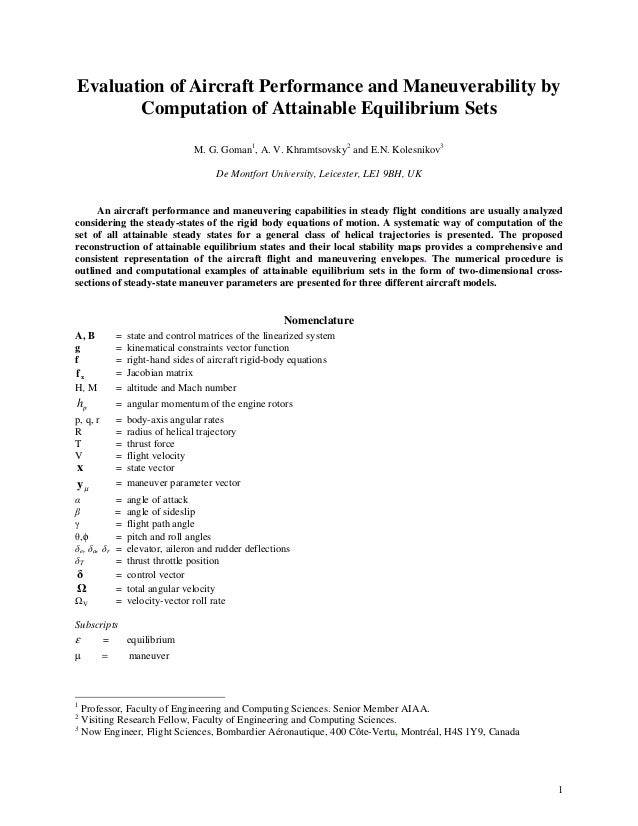1 Evaluation of Aircraft Performance and Maneuverability by Computation of Attainable Equilibrium Sets M. G. Goman1 , A. V...