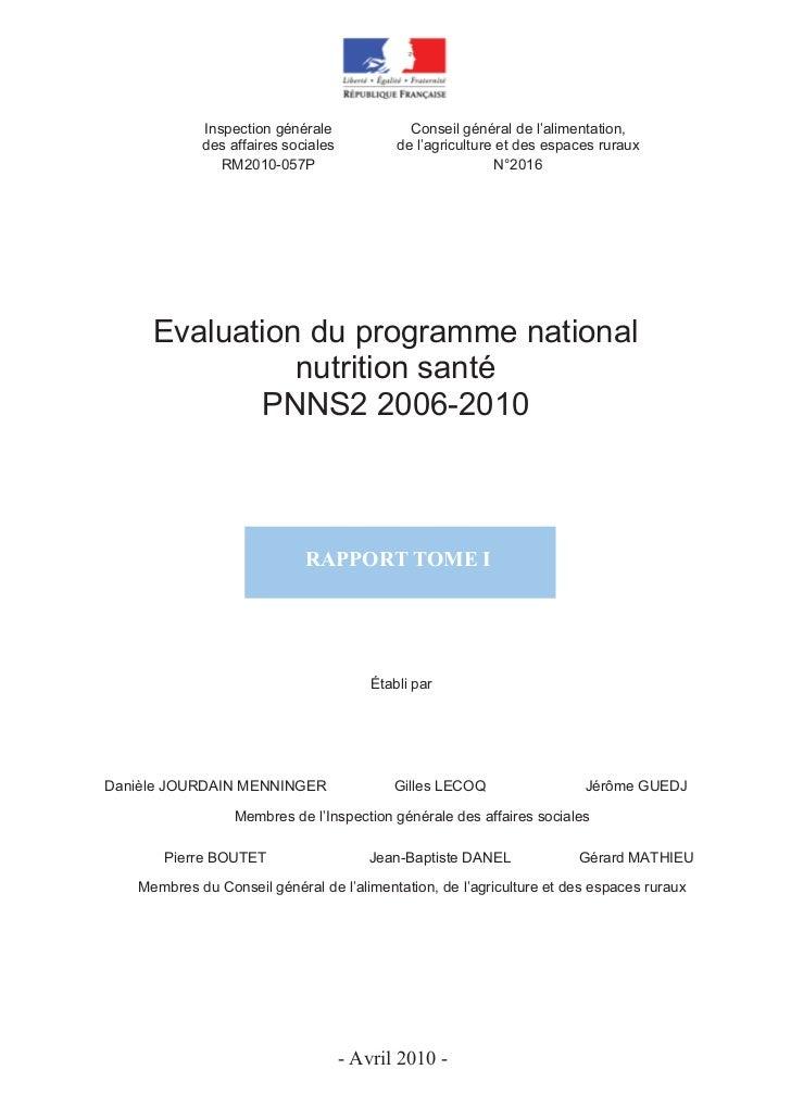 Inspection générale               Conseil général de l'alimentation,            des affaires sociales           de l'agric...