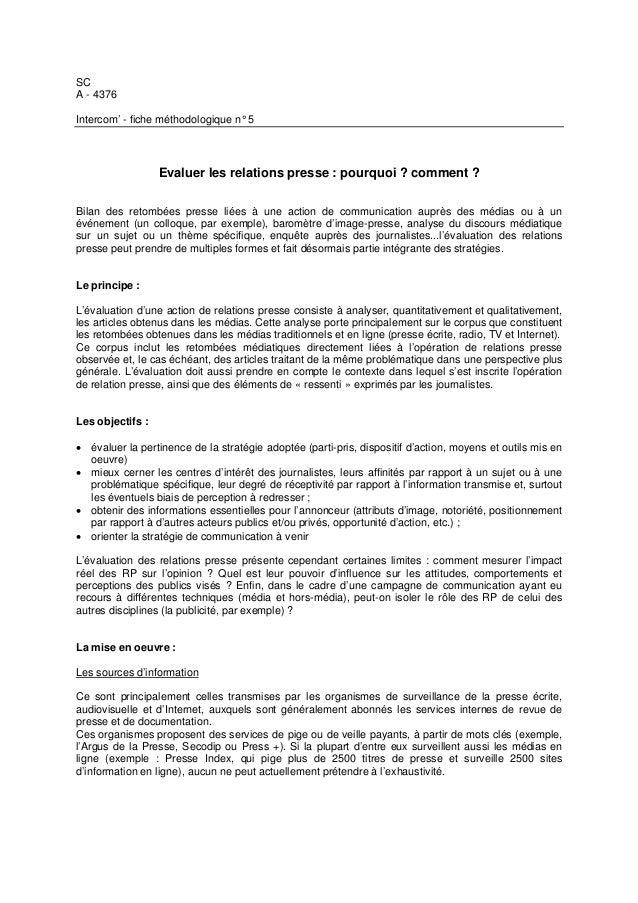 SC A - 4376 Intercom' - fiche méthodologique n° 5 Evaluer les relations presse : pourquoi ? comment ? Bilan des retombées ...
