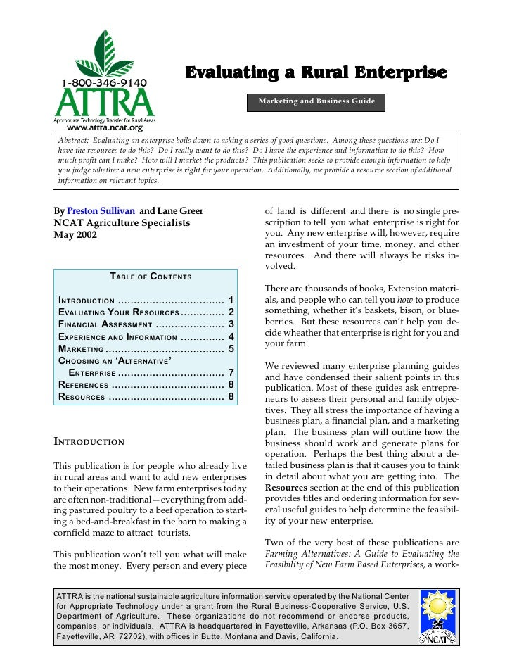 Evaluating a Rural Enterprise                                                              Marketing and Business Guide Ab...