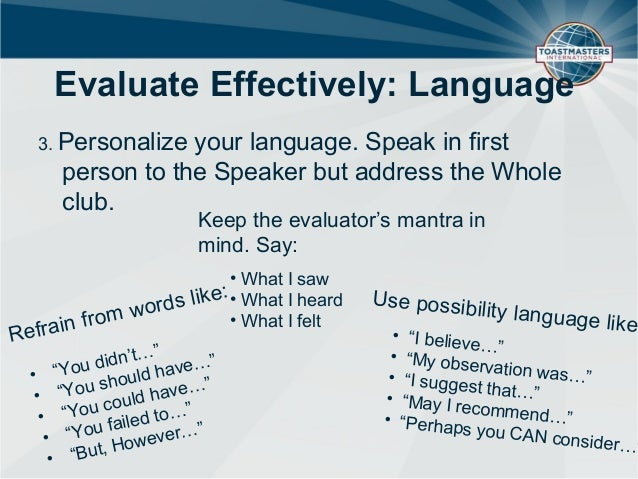 how to evaluate a speech toastmasters