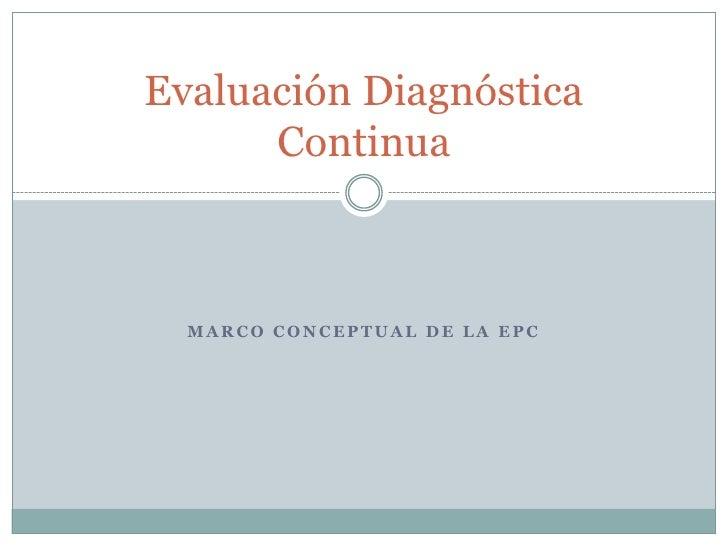 Marco conceptual de la epc<br />Evaluación Diagnóstica Continua<br />