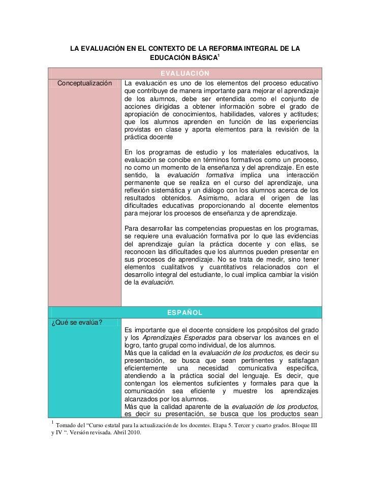 LA EVALUACIÓN EN EL CONTEXTO DE LA REFORMA INTEGRAL DE LA                           EDUCACIÓN BÁSICA1                     ...
