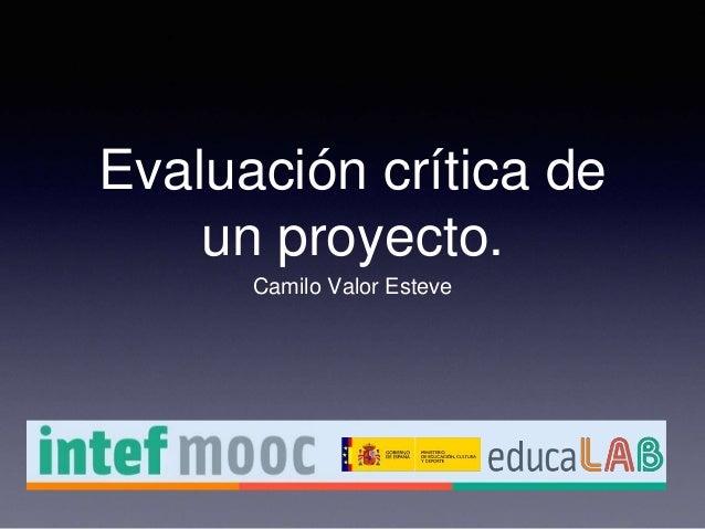 Evaluación crítica de un proyecto. Camilo Valor Esteve