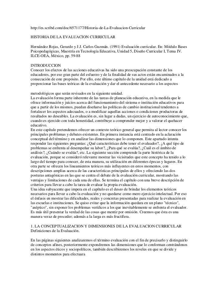 http://es.scribd.com/doc/6571177/Historia-de-La-Evaluacion-CurricularHISTORIA DE LA EVALUACION CURRICULARHernández Rojas, ...
