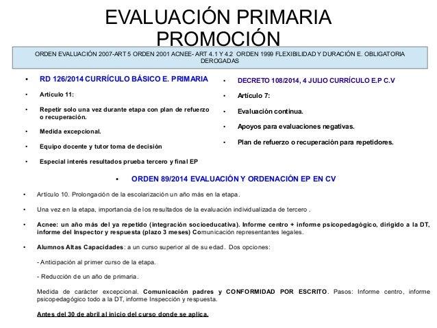 EVALUACIÓN PRIMARIA PROMOCIÓN ● RD 126/2014 CURRÍCULO BÁSICO E. PRIMARIA ● Artículo 11: ● Repetir solo una vez durante eta...