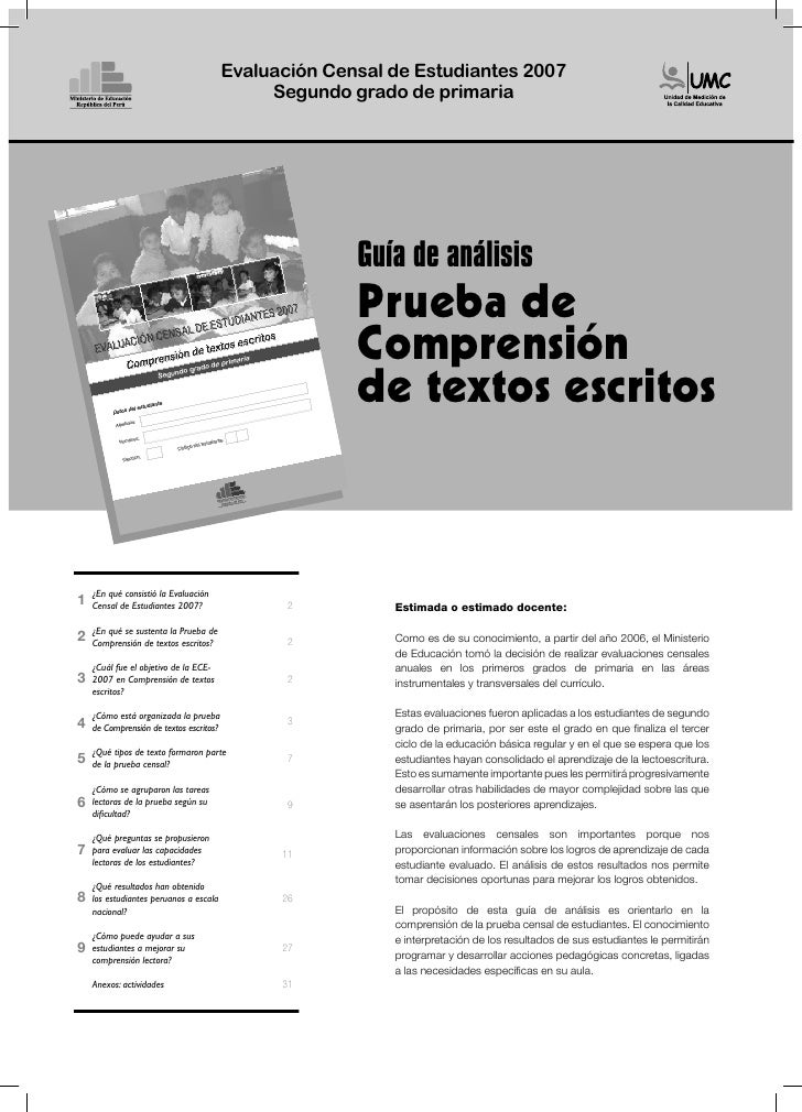 Evaluación Censal de Estudiantes 2007                                               Segundo grado de primaria             ...