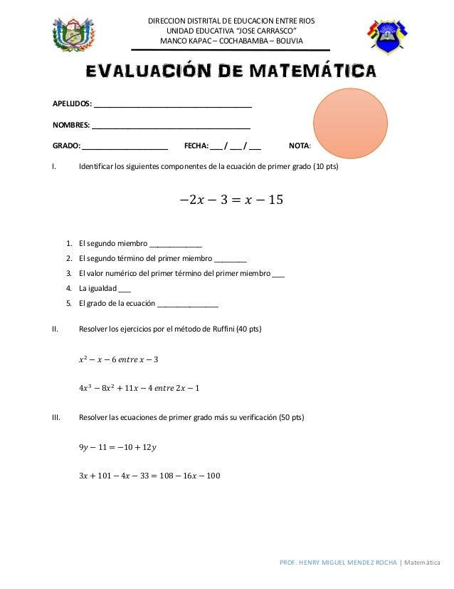 evaluaci n ecuaciones de primer grado