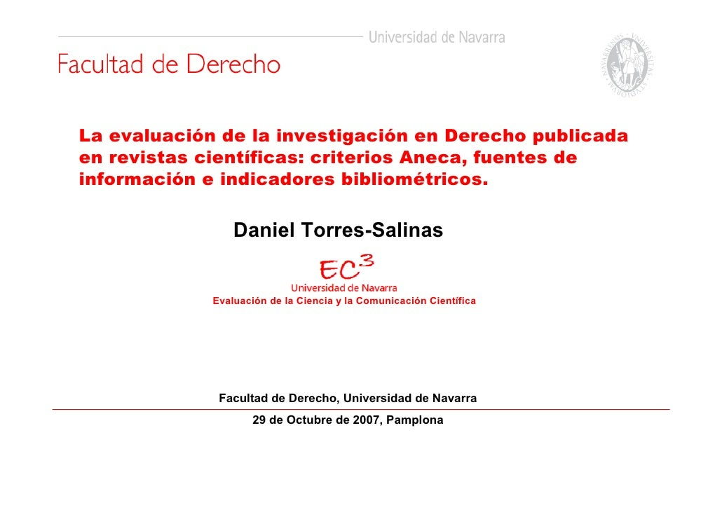 La evaluación de la investigación en Derecho publicada en revistas científicas: criterios Aneca, fuentes de información e ...