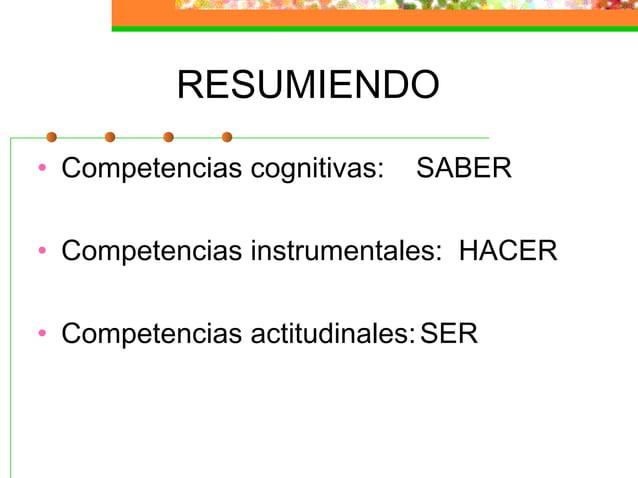 RESUMIENDO • Competencias cognitivas: SABER • Competencias instrumentales: HACER • Competencias actitudinales:SER