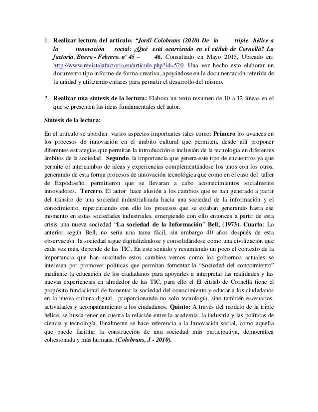 """1. Realizar lectura del artículo: """"Jordi Colobrans (2010) De la triple hélice a la innovación social: ¿Qué está ocurriendo..."""