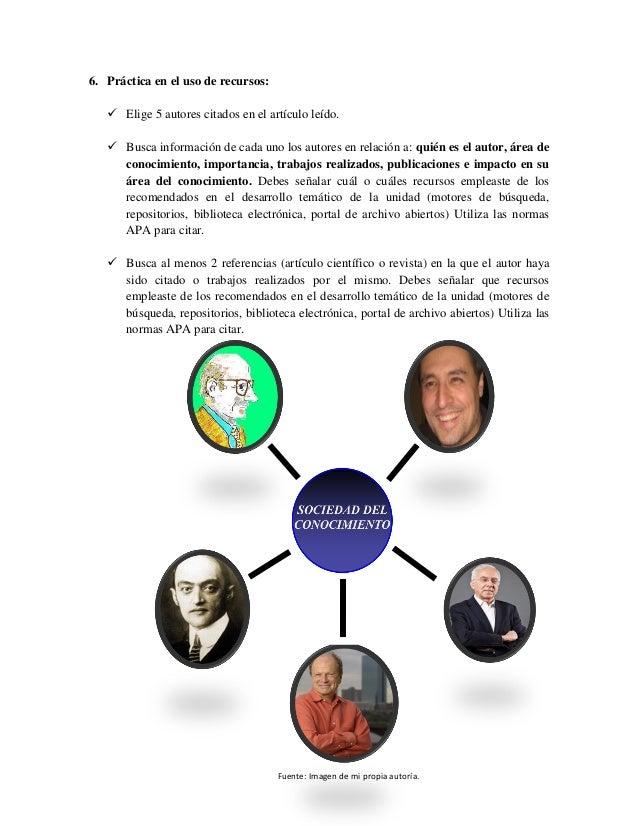 6. Práctica en el uso de recursos:  Elige 5 autores citados en el artículo leído.  Busca información de cada uno los aut...