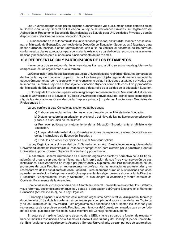 OEI   -   Sistemas   Educativos   Nacionales   -   El   Salvador                                         11     Las univer...