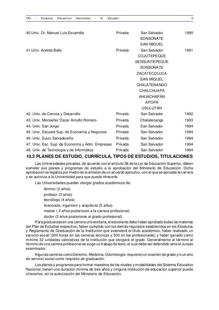 OEI   -   Sistemas   Educativos   Nacionales   -   El   Salvador                                         640.Univ. Dr. Man...