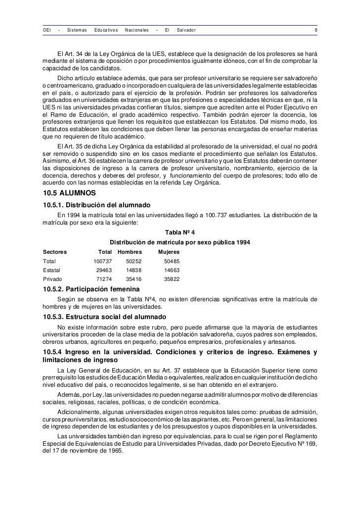 OEI     -   Sistemas   Educativos     Nacionales   -     El   Salvador                                   8     El Art. 34 ...