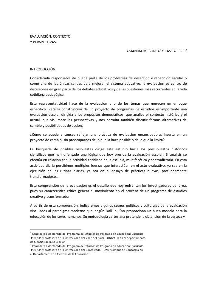 EVALUACIÓN: CONTEXTO Y PERSPECTIVAS                                                                            AMÁNDIA M. ...