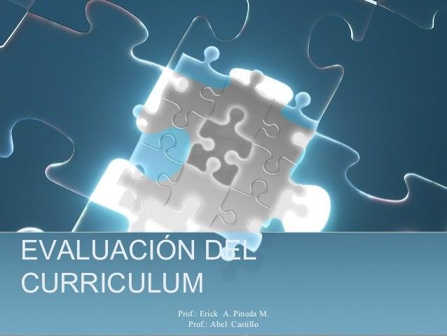 Prof.: Erick A. Pineda M. Prof.: Abel Castillo EVALUACIÓN DEL CURRICULUM