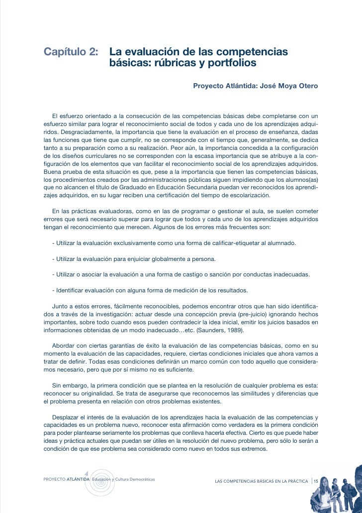 Capítulo 2:                   La evaluación de las competencias                              básicas: rúbricas y portfolio...
