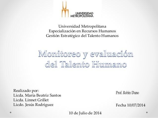 Universidad Metropolitana Especialización en Recursos Humanos Gestión Estratégico del Talento Humanos Realizado por: Licda...