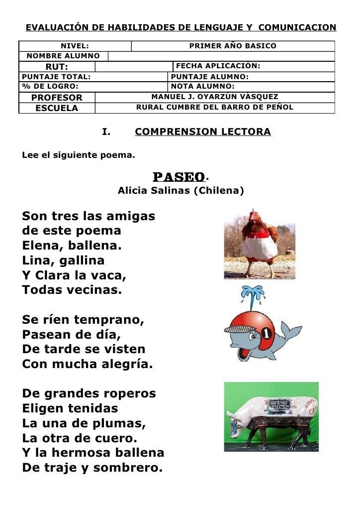 EVALUACIÓN DE HABILIDADES DE LENGUAJE Y COMUNICACION      NIVEL:                        PRIMER AÑO BASICONOMBRE ALUMNO    ...