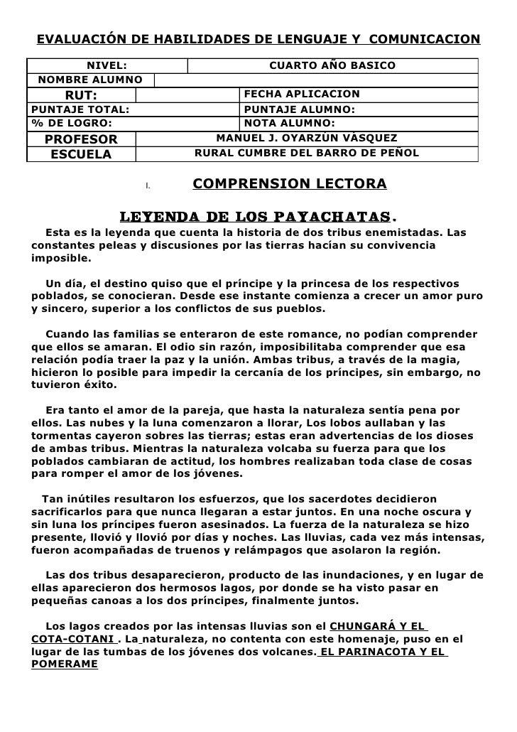 EVALUACIÓN DE HABILIDADES DE LENGUAJE Y COMUNICACION         NIVEL:                            CUARTO AÑO BASICO  NOMBRE A...