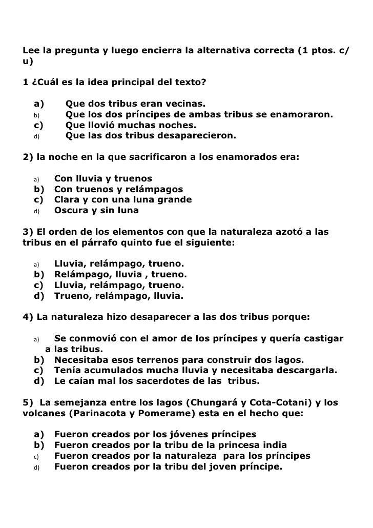 Lee la pregunta y luego encierra la alternativa correcta (1 ptos. c/ u)  1 ¿Cuál es la idea principal del texto?    a)    ...